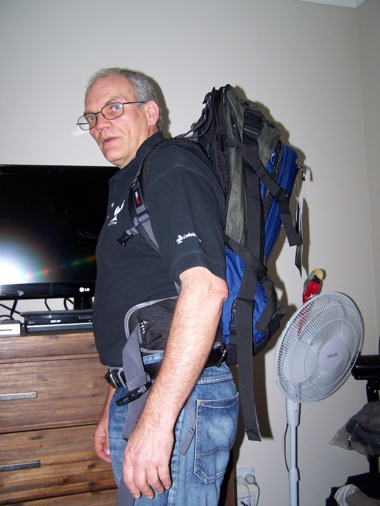 gert showing off his new travel backpack - still empty!
