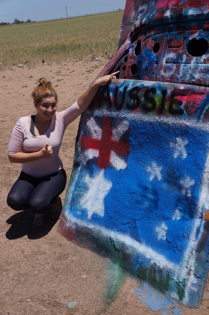 Aussie Flag at Cadillac Ranch, Texas!