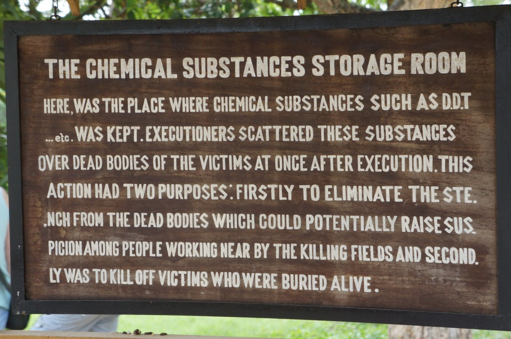 Sign at the Killing Fields, Cambodia