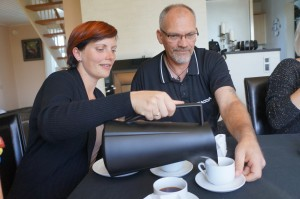 Mia & Gert pouring coffee in Denmark