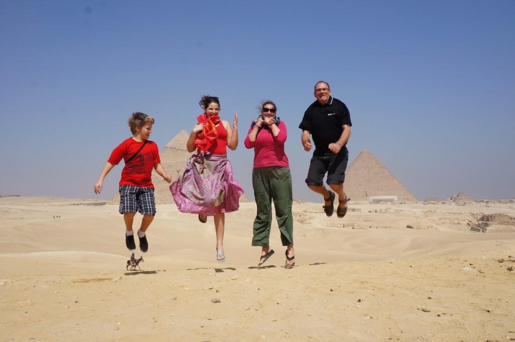Jumping photos at Pyramids of Giza - 2012