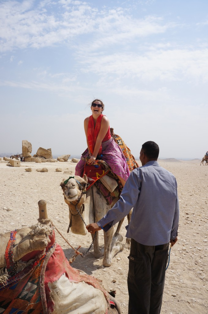 Kate Jones on a camel in Egypt!