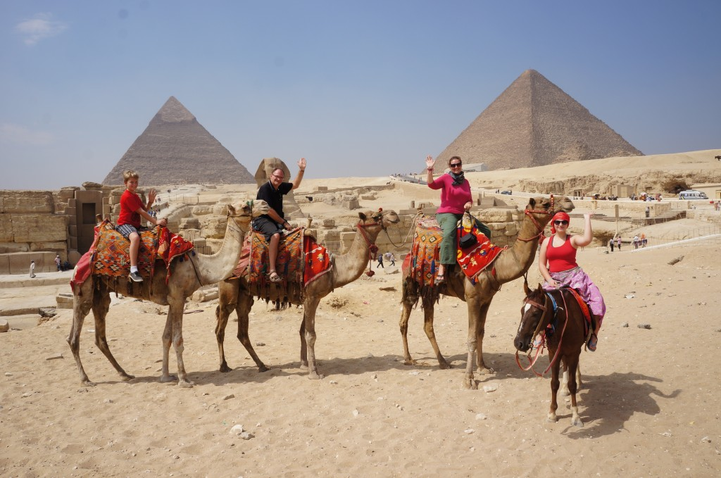Pedersen family camel riding in Egypt!