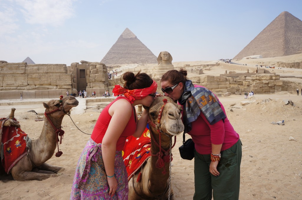 Kate and Tracey kissing camels by the Sphrinx