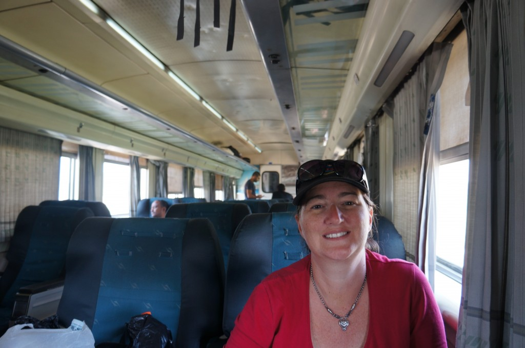 Tracey Pedersen on train in Egypt