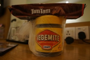 Travel essentials - Vegemite and Tim Tams!