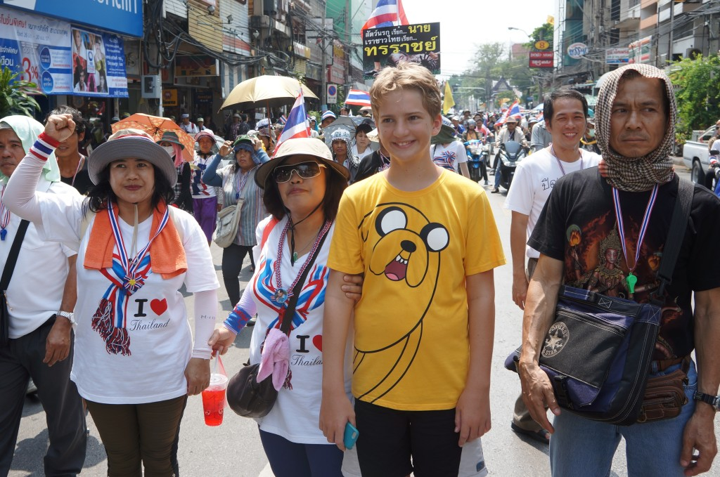 Jono and his shutdown bangkok protest friends!
