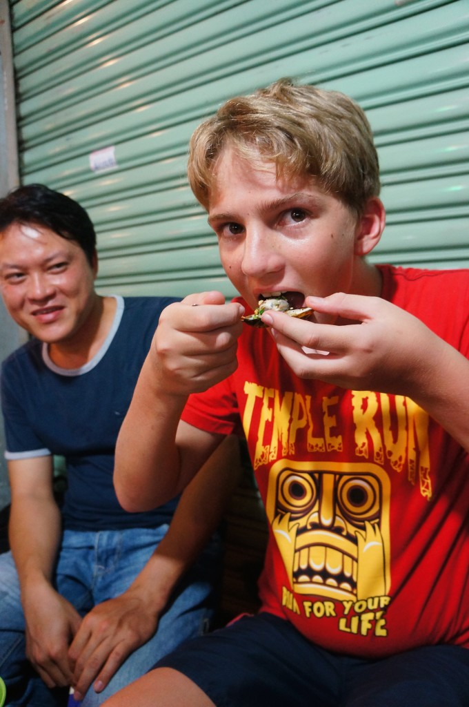 Jono enjoying Saigon Street Eats snacks!