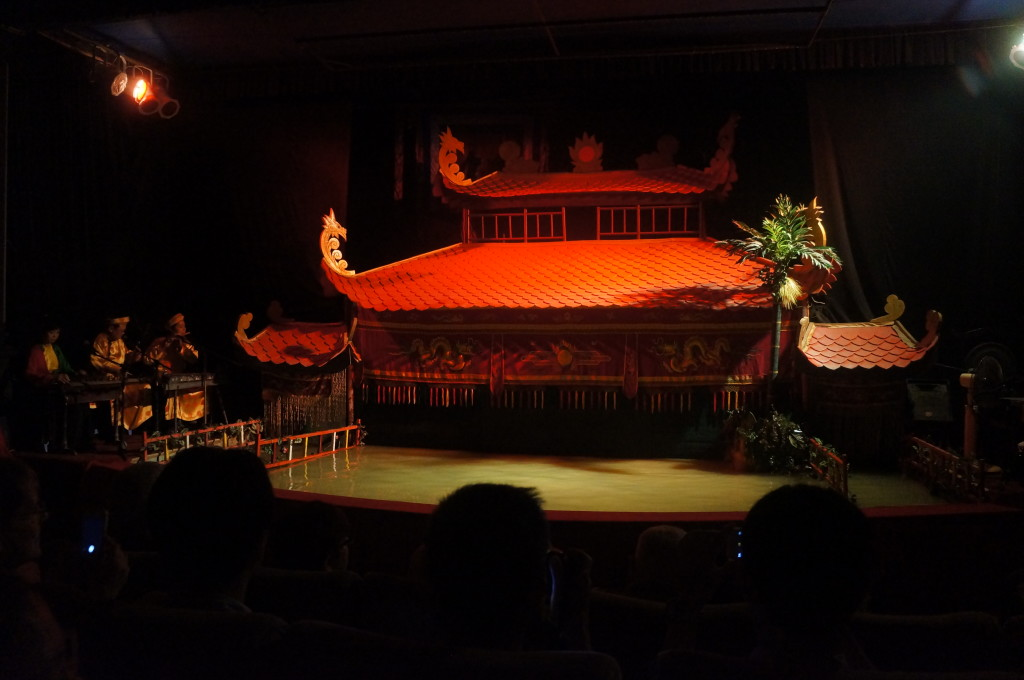 Vietnamese water puppet show opening pagoda