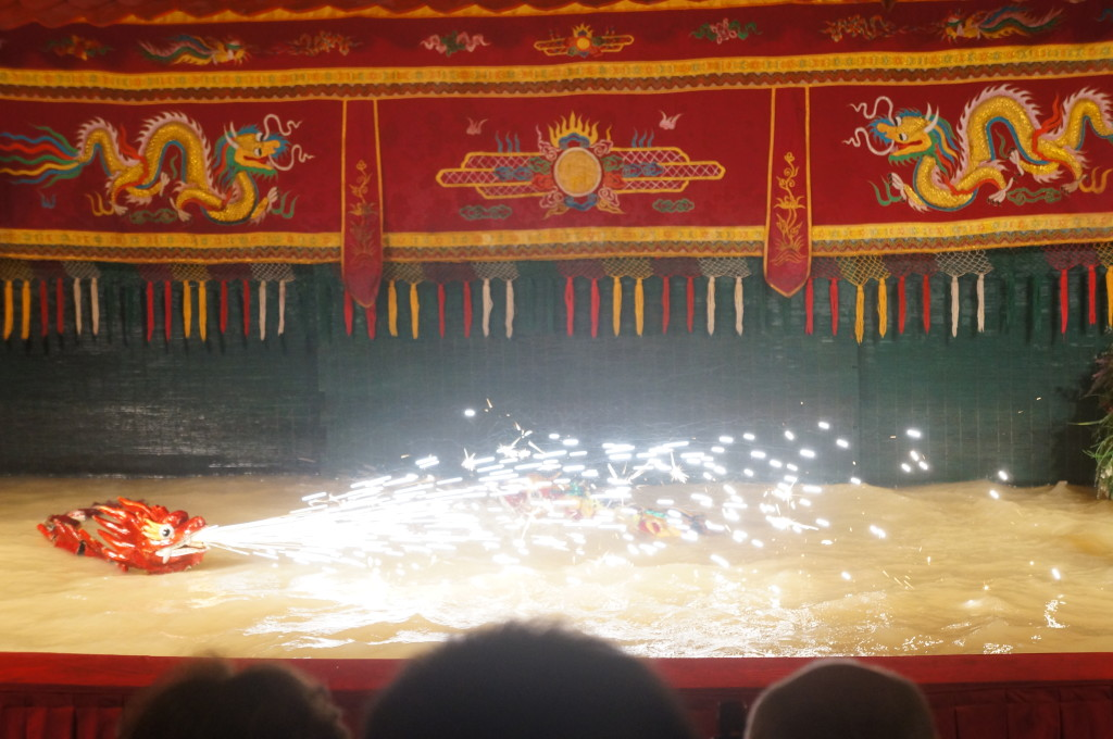 Sparklers at the Vietnamese water puppet show!